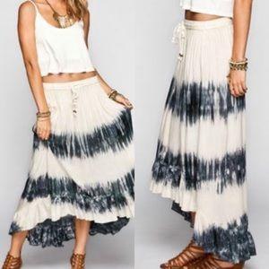 Rip Curl tour tie dye high low ruffle skirt size L